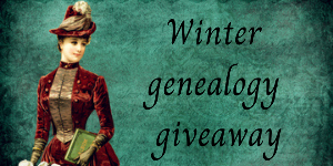 Victorian woman looking at words 'Winter Genealogy giveaway'