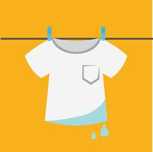 wet t-shirt hanging on a line