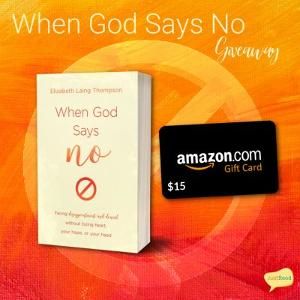When God Says No Takeover Tour Prize: copy of the book + $15 Amazon gift card (US only)!