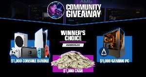 Win $1,000 Cash or $1,000 Gaming PC or $1,000 Console Bundle !!