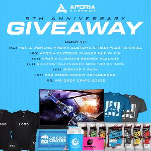 """Win 1 Sceptre C24 Curved Monitor - 24""""  1 JerkyXP 7-Pack  1 $40 AdvancedGG Gift Card  2 Air Drop Crates Boxes 2 Men & Womens Aporia Customs Street wear Apparel  5 Aporia Customs Shaker Cup & Pin  1 Aporia Customs Bronze Package"""