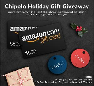 Win $1000 in Amazon Gift Cards and 2 Chipolo Trackers