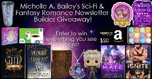 Win 4 books,  One pack of glow in the dark star stickers, One fantasy coffee tumbler, One Jareth Scented Funko Pop, One leather owl diary/journal, one moon necklace, bath bombs, 2 sci-fi & fantasy romance stickers, a $10 Starbucks Gift Card, & a $20 AGC!