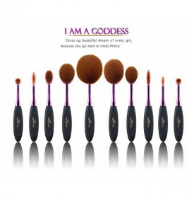WIN: a 10 Pc Oval Make Up Brush Set.
