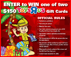 Win a $150 Toys R Us Gift Card - 2 Winners