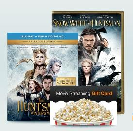 Win a $25 FandangoNOW Gift Card Plus Snow White & The Huntsman and The Huntsman: Winter's War Blu-ray Combo Packs!!!