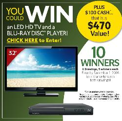 "WIN: a 32"" HDTV and a Magnavox Blu-Ray Player with $100 check."