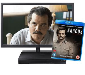 Win a 32in HD TV, Blu-ray player and Narcos:Complete Season One Box Set!!