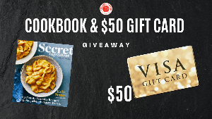 Win a $50 dinner party gift card and a signed copy of The Secret Ingredient Cookbook written by Kelly Senyei!!