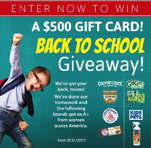 Win a $500 Gift Card for Back to School