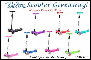 Win a BeLeev 3-Wheel Scooter in your choice of color!