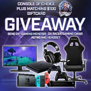 "WIN A CONSOLE OF CHOICE (Switch, PS4, Xbox One) ;ASTRO A40 Headset ;DX RACER Gaming Chair ;BenQ 24"" Gaming Monitor; 5 Tubs Of Your Choice Of GFUEL"