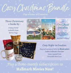 Win a Cozy Christmas Bundle (3-month Hallmark Movies Now gift subscription, 3 Christmas e-books, sweater weather mug, Godiva chocolate, caramel popcorn, cocoa, and Christmas sticker)!!
