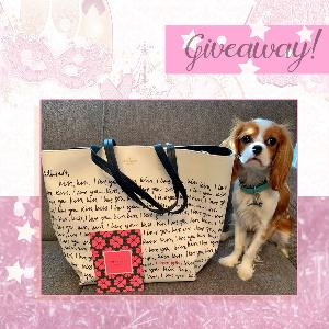 Win a FABULOUS romance-themed Kate Spade tote bag (adorable dog not included)!