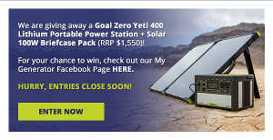 Win a Goal Zero Yeti 400 Lithium Portable Power Station + Solar 100W Briefcase Pack! (RRP $1,550)
