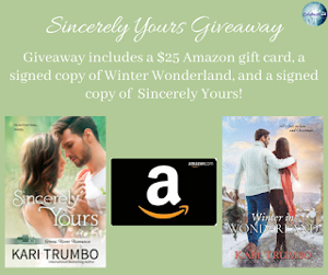Win a grand prize package of a $25 Amazon gift card and signed copies of Sincerely Yours and Winter in Wonderland!!