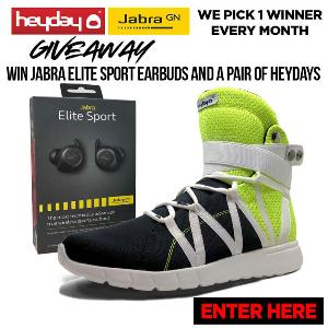 Win a Jabra Elite Sport Bluetooth Earbuds and a pair of Heyday Footwear