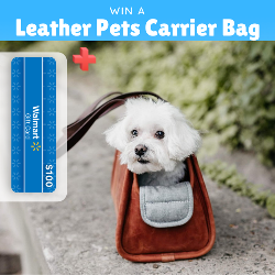 Win a Leather Pets Carrier Bag + $100 Walmart gift card