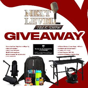 Win a Next Level   Streaming Bundle including a Blue Microphone Yeti Blue Microphone, Compass Microphone Arm, Gamer Sups (1x tub of choice/1x shaker/3x $10 giftcard) & so much more!!!