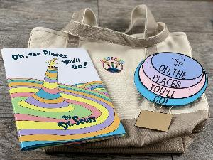 Win a Oh, The Places We'll Go By Dr. Seuss (Hard-cover book); The Places We'll Go Hot Air Balloon Flip-Up Activity ;A Large Canvas Land's End Tote Bag ; A $10 TPT Gift Certificate