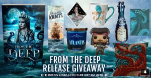 Win a paperback copy of From The Deep, a Jack Sparrow Funko Pop, an Atlantis candle, a mermaid at heart coffee mug, a siren's song potion bottle, a pirate-themed bookmark, a Kraken pillow, a selkie sticker, and a sea witch journal!