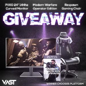 Win a Pixio PXC243 Gaming Monitor;  Respawn Racing Style Gaming Chair &  Call of Duty: Modern Warfare