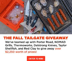 WIN A PORTER ROAD $300 GIFT CARD, NOMAD GRILLS GRILL & SMOKER, CHARCOAL, AND FIRE STARTERS ($649 VALUE), THERMOWORKS THERMAPEN ONE AND SIGNALS BBQ ALARM ($344 VALUE)... + Lots more!!!