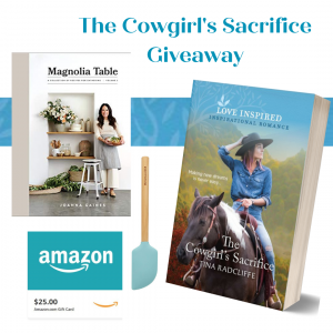 Win a print copy of The Cowgirl's Sacrifice, a $25 Amazon gift card, Kitchen Aid Aqua Spatula, and Magnolia Table, Volume 2: A Collection of Recipes for Gathering (US and Canada)!