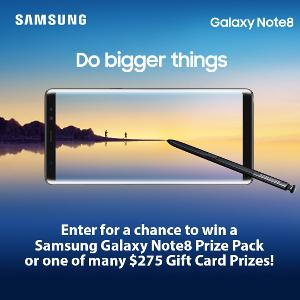 Win a Samsung Galaxy Note 8 prize pack of $275 Target Gift Card