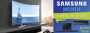 """Win a Samsung Home Theater Setup including 65"""" 4k Curved HDTV, 4K blu-ray player and a curbed soundbar"""