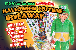 Win a set of spooky stickers,candies & a Gummybar costume in your size!!