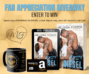 Win a signed copy of RUNNING ON DIESEL, a Dark Knights mug, and a $20 Amazon e-gift card!