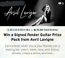 Win a Signed Fender Guitar Prize Pack from Avril Lavigne