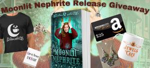 Win a signed paperback of Moonlit Nephrite, $25 Amazon gift card, WhyChoose magnet, Moonlit Falls t-shirt, Silver Springs coffee cup, Spell Library book necklace & Jewels Cafe coffee cup necklace and earring set!