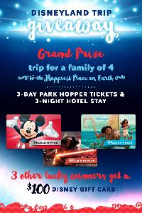 Win a trip to Disneyland or 1 of 3 $100 Disney Gift Cards