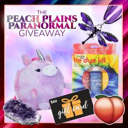 Win a unicorn plush, an amethyst geode, a dragonfly pendant, a tie-dye kit, a peach sticker, and a $10 Amazon gift card!