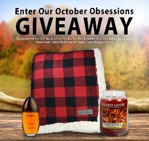 Win a Yankee Candle, Calvin Klein Perfume and plaid blanket