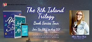 """Win an autographed copy of the entire 8th Island Trilogy, a keychain, map of the magical island, """"Busy Reading"""" doorhanger, and themed journal!!"""