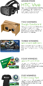 Win an HTC Vive, Gogole Cardboard, Steam Gift Cards or NodeCraft Swag/Gift Cards