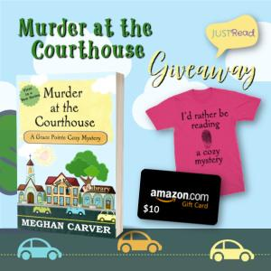 """Win an """"I'd rather be reading a cozy mystery"""" tee-shirt, Signed paperback of Murder at the Courthouse, $10 Amazon gift card!!"""