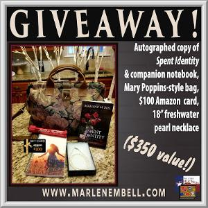 "Win : Autographed copy of Spent Identity & companion notebook, Mary Poppins-style bag (18x13"" tapestry carpet bag with leather trim, handmade in Israel), $100 Amazon gift card, and 18"" freshwater pearl necklace!!"