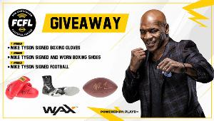 Win boxing gloves, boxing shoes & a football signed by Mike Tyson