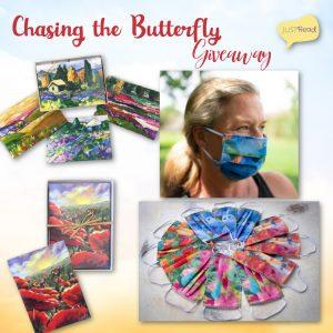 Win Chasing the Butterfly Original Art Notecards, Provence Art Notecards (both sets of 8 blank cards), and one Jayme H. Mansfield original floral art mask!
