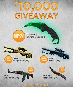 Win CSGO Skins, $100 Gameflip Gift Cards, or $100 Gift Cards to your favorite retailers - $10,000 in total prizes