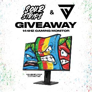 Win!! Grand Prize(s): 144Hz Gaming Monitor & Promo Box of 10 Bags of Sour Strips! Runners Up: Promo Box of 10 Bags of Sour Strips!