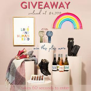 Win habbot   •   $1,000 Gift Card, Rachel Castle  •  'Love and Human Kind' print, 6ft6 Wine  •   4 x cases of your choice (24 bottles!), Electric Confetti   •   Rainbow LED neon light.....+ so much more