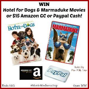 WIN: Hotel for Dogs & Marmaduke Movies or a $15 Amazon GC or Paypal Cash!