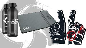 Win merch packs containing a foam finger, a water bottle, and a mouse pad with a wireless charger built in!