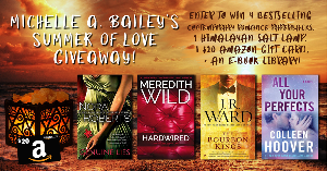 win one paperback book of Genuine Lies by Nora Roberts, Hardwired by Meredith Wild, The Bourbon Kings by J.R. Ward, All Your Perfects by Colleen Hoover, one Himalayan Salt Lamp, one $20 Amazon Gift Card, plus an ebook library!