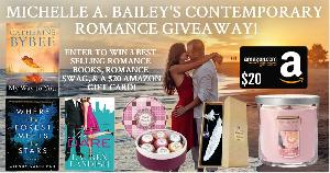 """Win One paperback copy of """"The Dare"""" by Lauren Landish , One paperback copy of """"Where the Forest Meets the Stars"""" by Glendy Vanderah, One paperback copy of """"My Way To You"""" by Catherine Bybee, One rose scented candle, a seven piece bath bomb set...+more.."""